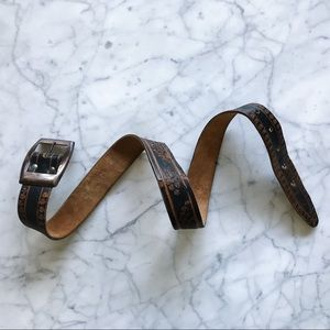 Vintage Accessories - 🌿Vintage Tooled Genuine Leather Belt